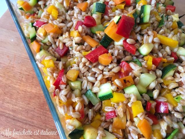 Recette salade de blé aux légumes croquants