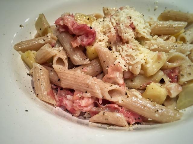 Recette pâtes artichauts et pancetta