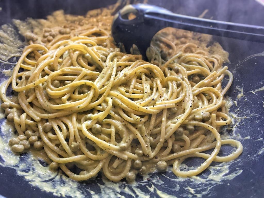 Recette spaghettis petits pois menthe